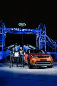 Bear Grylls, Zara Phillips and Sir Ben Ainslie with the new Land Rover D...