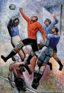 carlo carrà - partita di calcio - 1930