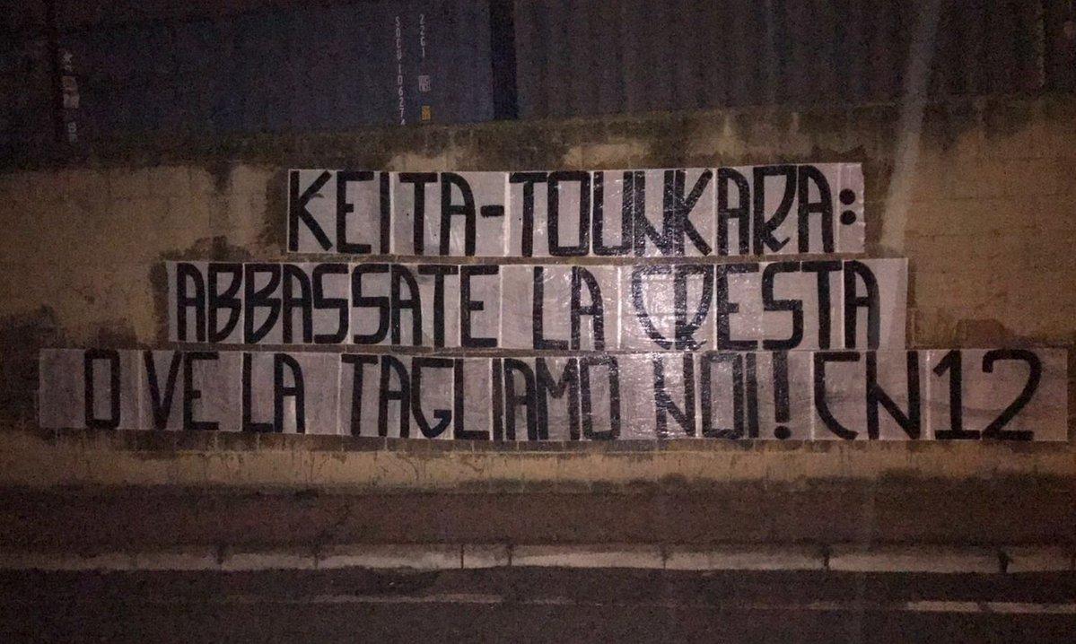 Lazio, striscione choc contro Keita e Tounkara: