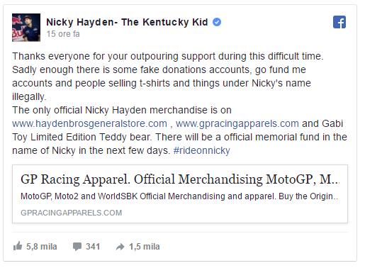 Nicky Hayden non ce l'ha fatta. E' morto oggi pomeriggio