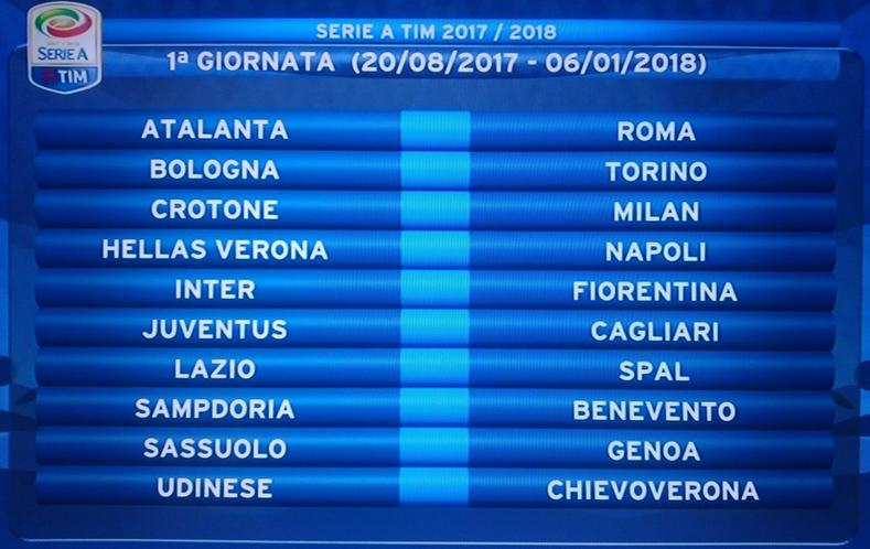 Ecco il calendario della Serie A 2017/2018