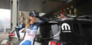 La campionessa di ciclismo Elena Novikova allo stand FCA (Mopar) del Motor show di Bologna