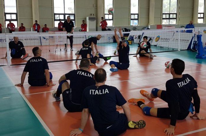 Gli azzurri del sitting volley in allenamento a Jeju Island