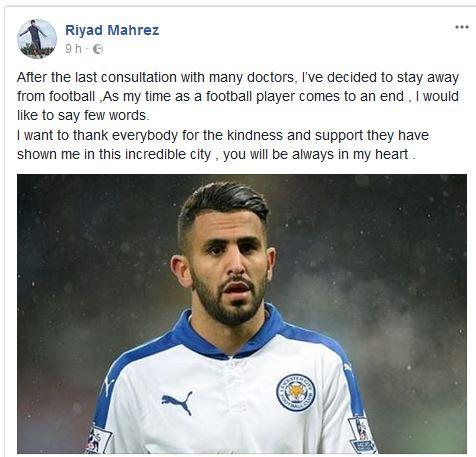 Premier League: Mahrez annuncia il suo ritiro via social