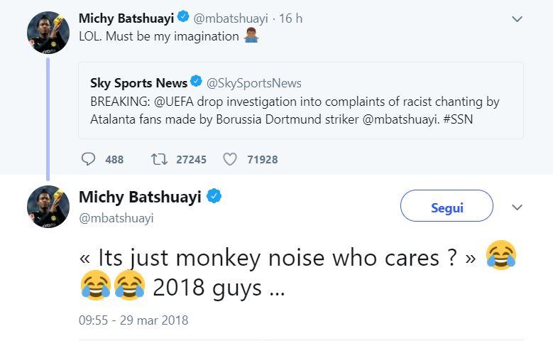 Atalanta, nessuna sanzione per insulti razzisti: Batshuayi attacca la Uefa
