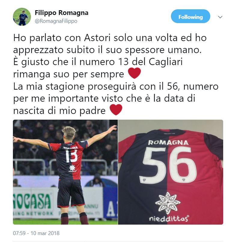 Romagna cambia maglia dopo il ritiro della 13, avrà la 56