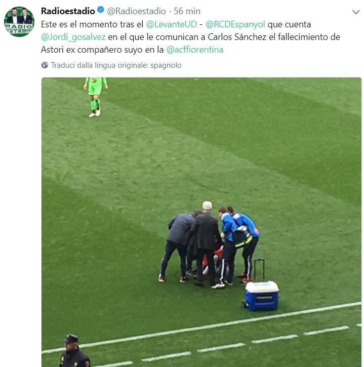 Carlos Sanchez e Diego Lopez colpiti da malore dopo la notizia Astori