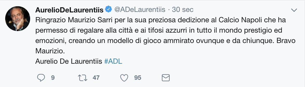 Napoli, esonerato Maurizio Sarri: il tweet del presidente De