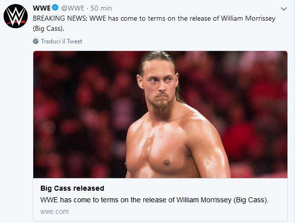 WWE – Licenziato Big Cass! Nel comunicato ufficiale però spu