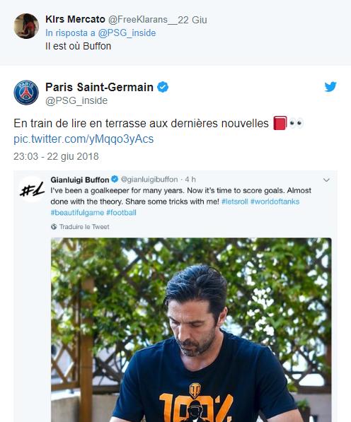 "Il Psg ""twitta"" Buffon: tifosi in visibilio"