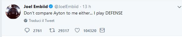 """Draft NBA – Embiid mette le cose in chiaro: """"non paragonate Ayton a me, io difendo"""""""