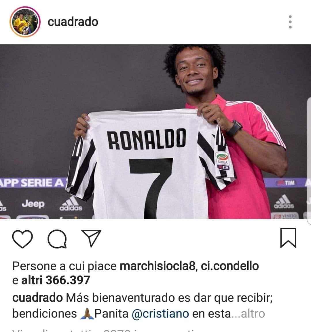 Juventus, Cuadrado cerca il nuovo numero: sondaggio tra i suoi fan