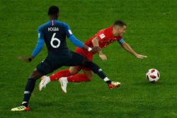 France's midfielder Paul Pogba (L) vies for the ball with Belgium's forward Eden Hazard during the Russia 2018 World Cup semi-final football match between France and Belgium at the Saint Petersburg Stadium in Saint Petersburg on July 10, 2018. / AFP PHOTO / Adrian DENNIS / RESTRICTED TO EDITORIAL USE - NO MOBILE PUSH ALERTS/DOWNLOADS