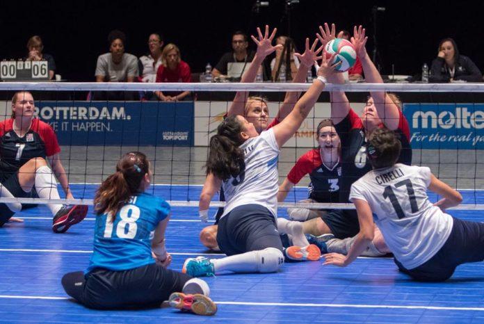Sitting Volley - Un foto di gioco delle azzurre durante il Mondiale