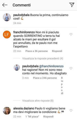 Dybala scuse esultanza Sorrentino