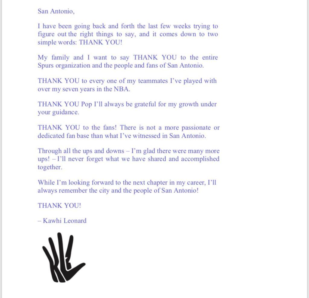 Kawhi Leonard lettera addio San Antonio Spurs