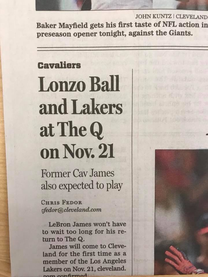 Lonzo Ball e LeBron James giornale Cleveland Cavaliers