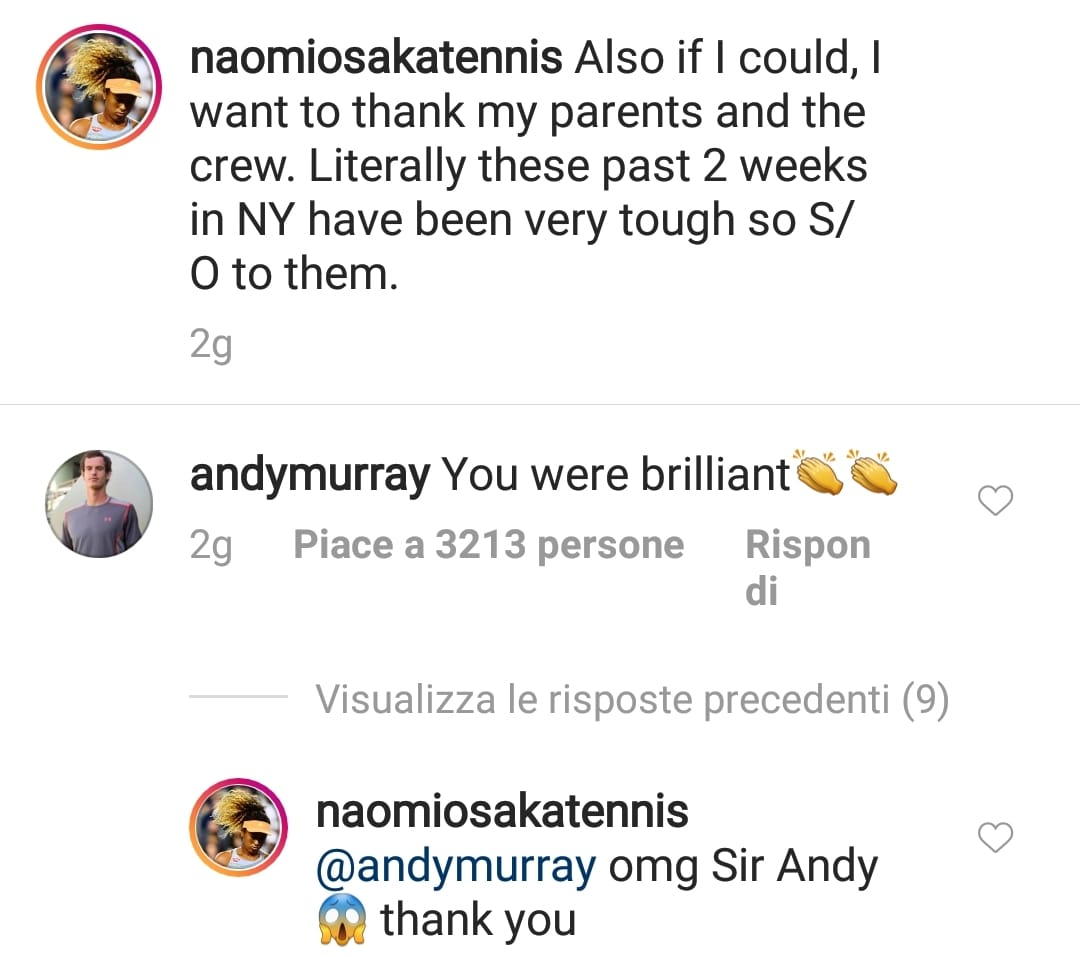 Commento Instagram Murray Naomi Osaka