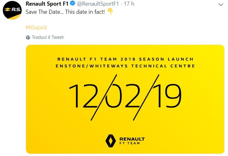 F1, Renault: il 12 febbraio la nuova livrea
