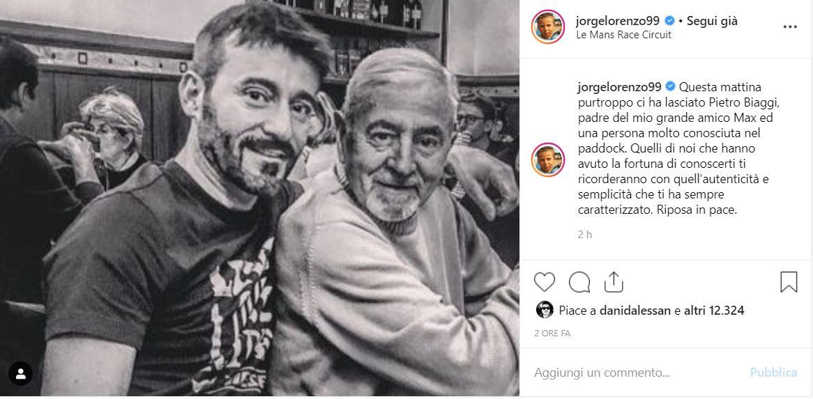 ea4fe50c4f7a MotoGp, Lorenzo e quel dolce pensiero per il papà di Max Biaggi ...