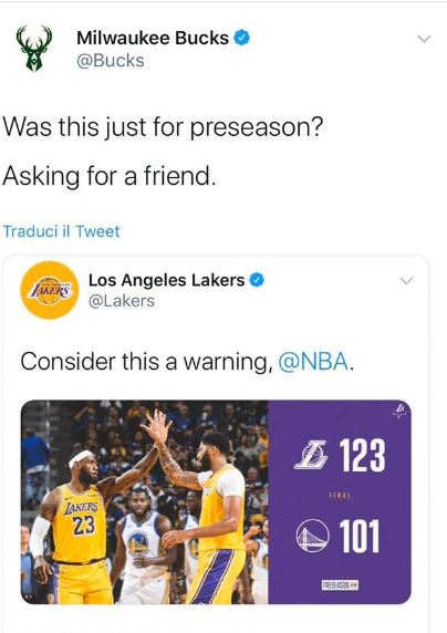 Milwaukee Bucks tweet Lakers