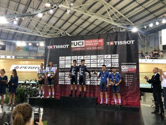 podio madison coppa mondo ciclismo pista