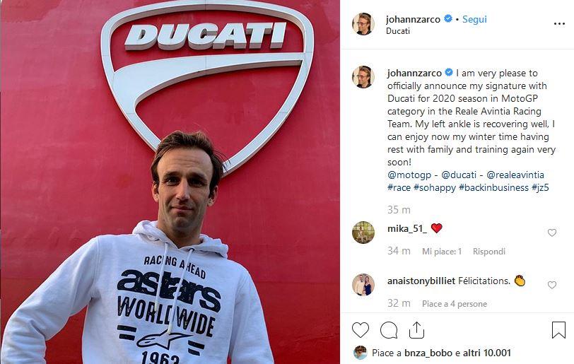 MotoGP, Johann Zarco sarà un pilota del team Ducati Avintia