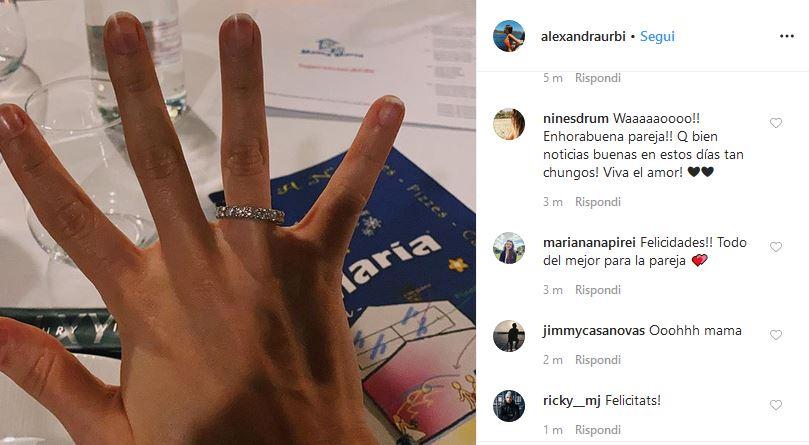 Alexandra Perez anello fidanzamento Alex Rins