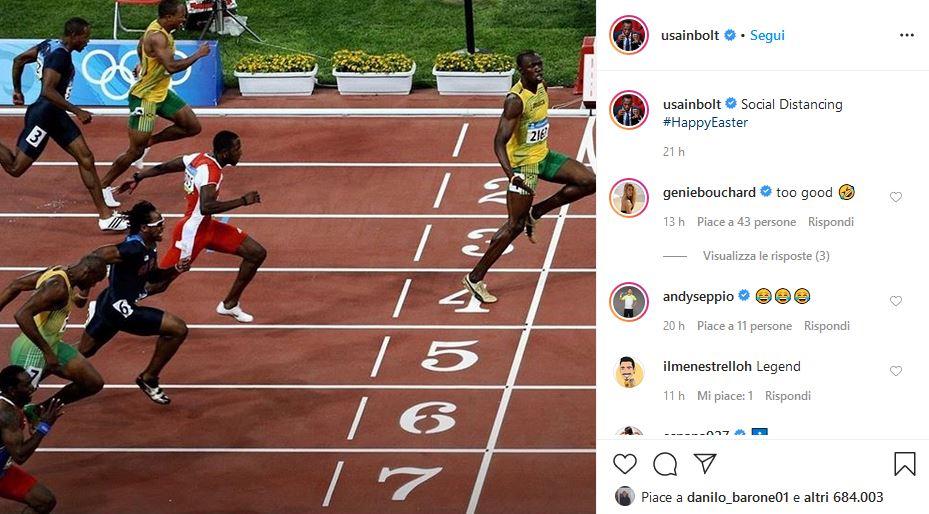 Usain Bolt distanza sociale