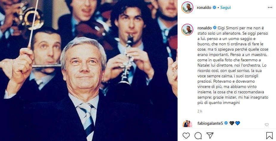 Ronaldo ricordo Gigi Simoni