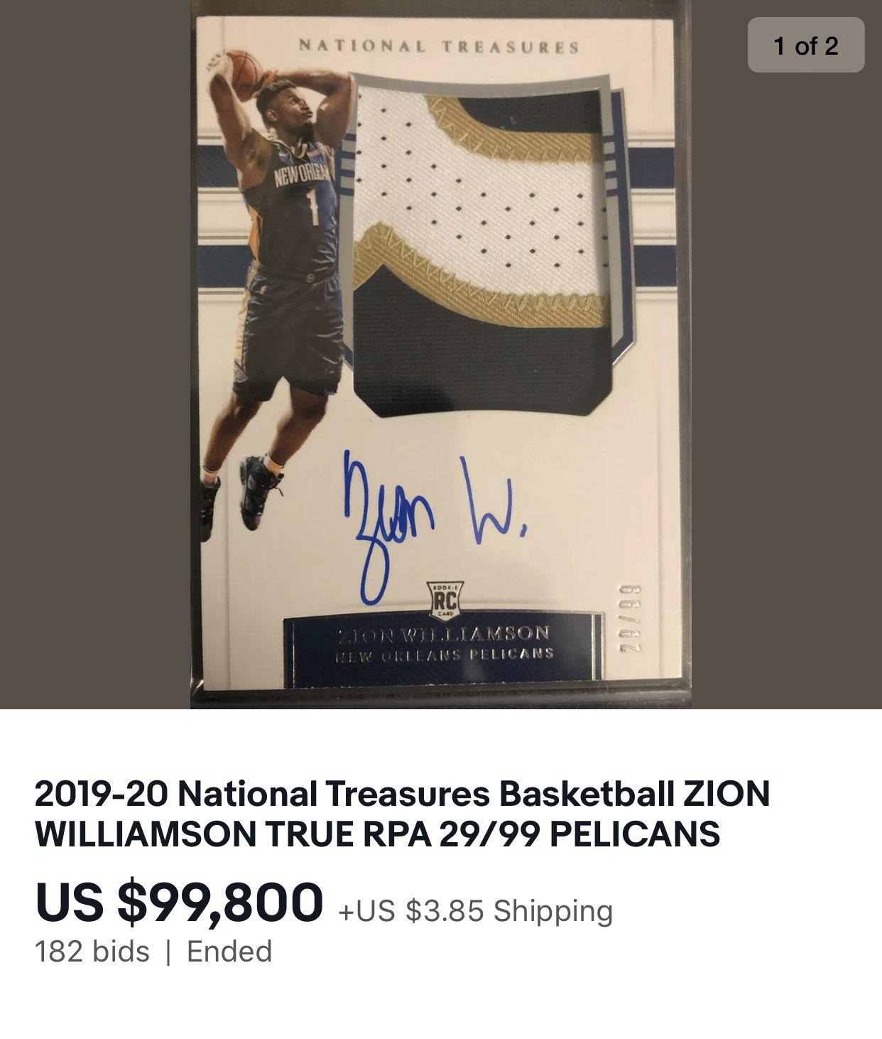 Figurina Zion Williamson 100.000 dollari