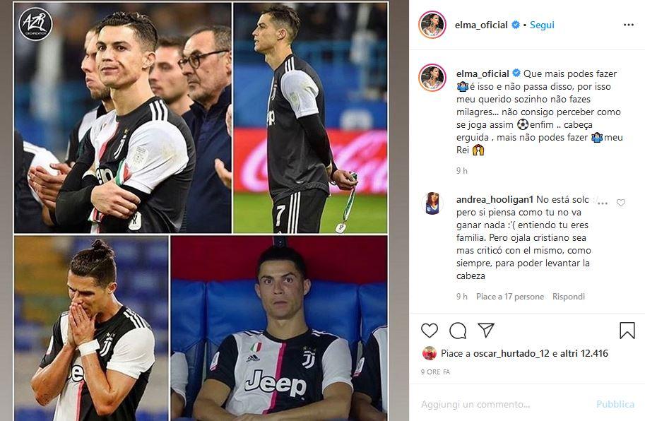 Post Instagram sorella Cristiano Ronaldo