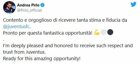 Andrea Pirlo errore Tweet Juventus