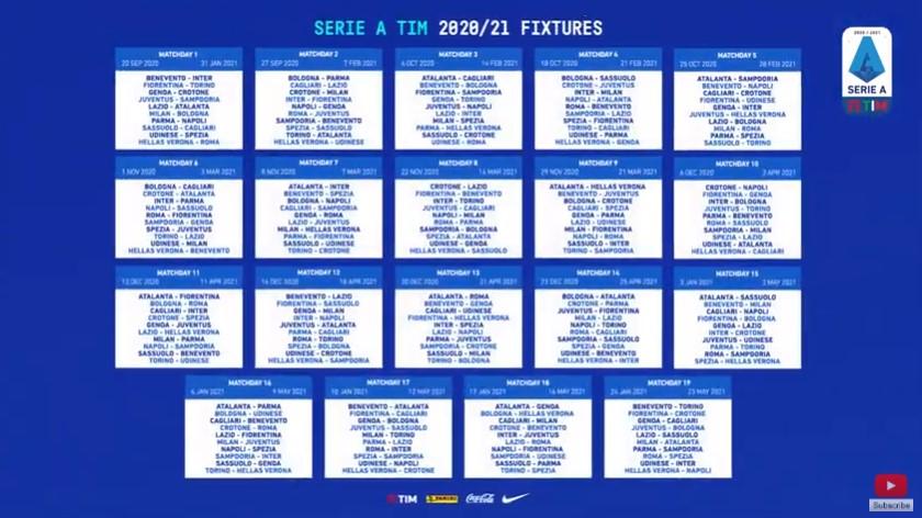 E Nata La Serie A 2020 2021 Svelato Il Calendario Della Nuova Stagione Tutte Le Giornate